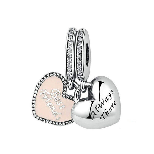 925 Sterling Silver Best Friend Always There Charm Bead Fits Pandora Charm Bracelet Pendant