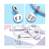 925 Sterling Silver Footprint Charm Bead Fits Pandora Charm Bracelet Pendant