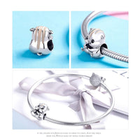 925 Sterling Silver Hamster Charm Bead Fits Pandora Charm Bracelet Pendant