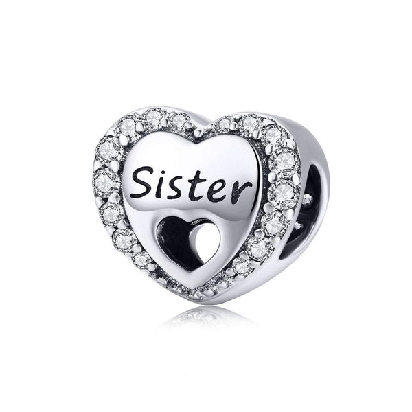 925 Sterling Silver Sister Charm Bead Fits Pandora Charm Bracelet Pendant