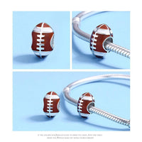 925 Sterling Silver Red Enamel Rugby Bead Fits Pandora Charm Bracelet Pendant