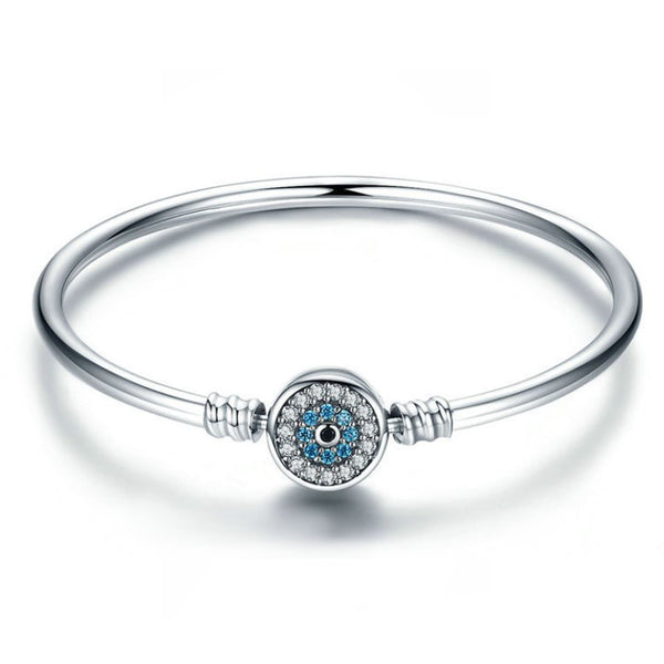 Solid 925 Sterling Silver Snap Clasp Blue Evil Eye Bangle Bracelet Fits Pandora Charms