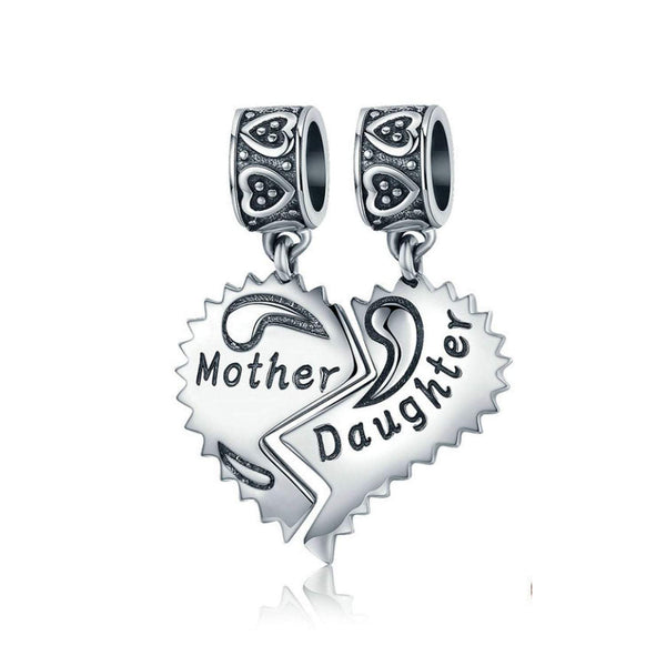 925 Sterling Silver Mother And Daughter Bead Charm Fits Pandora Charm Bracelet Pendant