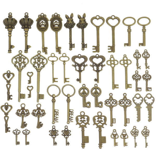 48 Pcs Bulk Mixed Bronze Key Charms for Jewelry Making