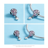 925 Sterling Silver Balloon With Heart Charm Bead Fits Charm Bracelet Pendant