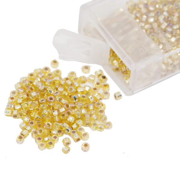 GMB Silverlined Dark Yellow Glass Seed Bead With Box 2mm,12g
