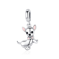 925 Sterling Silver Pink Enamel Dog Dangle Charm Bead Fits Pandora Charm Bracelet Pendant