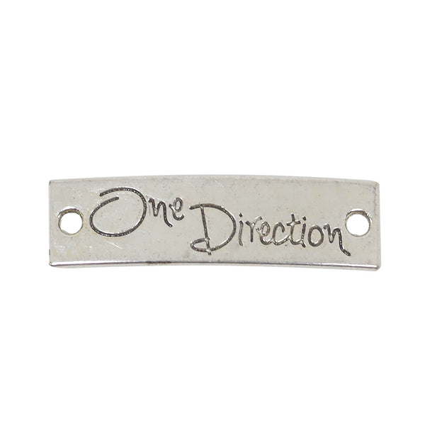 10 One Direction Connector Charms Antique Silver Tone Pendant 40mm x 11mm