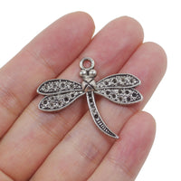 10 Drangonfly Charm Charms Antique Silver Tone Pendant 34mm x 29mm