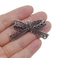 6 Hollow Bow Charm Charms Antique Silver Tone Pendant 44mm x 23mm