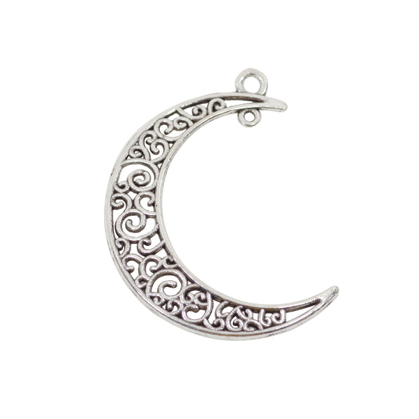 6 Moon Connector Charms Antique Silver Tone Pendant 41mm x 30mm