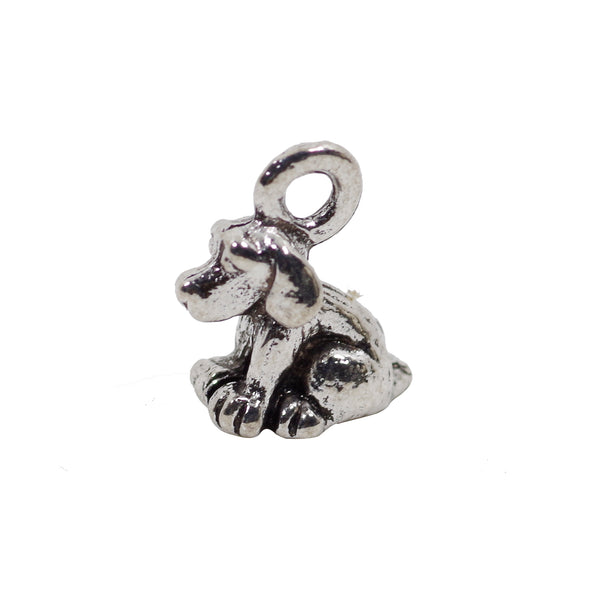 10 3D Tiny Dog Charms Antique Silver Tone Pendant 10mm x 9mm