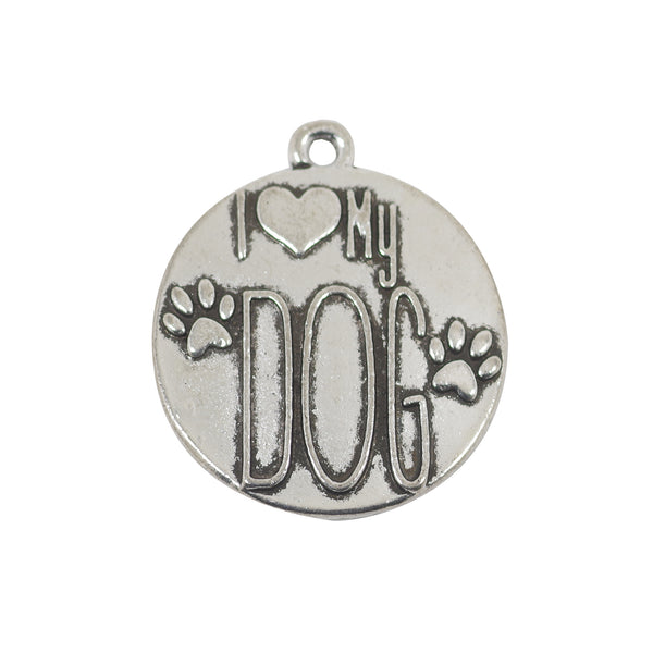 5 I Love My Dog Charms Antique Silver Tone Pendant 28mm x 24mm