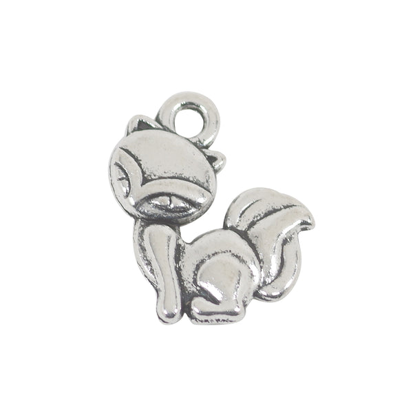 10 Fox Charms Antique Silver Tone Pendant 15mm x 12mm