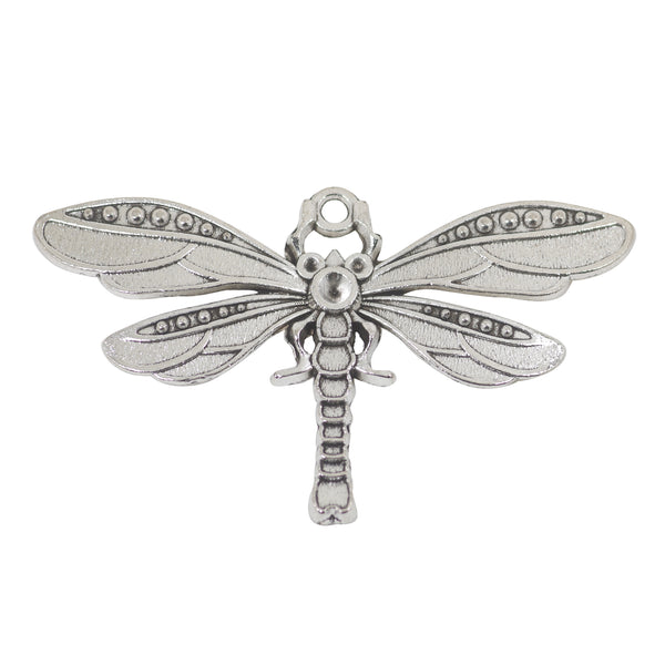 2 Dragonfly Charms Antique Silver Tone Pendant 42mm x 71mm
