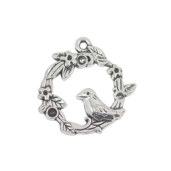 8 Bird On the Flower Charms Antique Silver Tone Pendant 21mm x 20mm