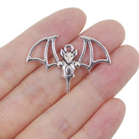 8 Bat Charms Antique Silver Tone Pendant 22mm x 33mm