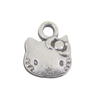 10 Hello Kitty Charms Antique Silver Tone Pendant 13mm x 10mm