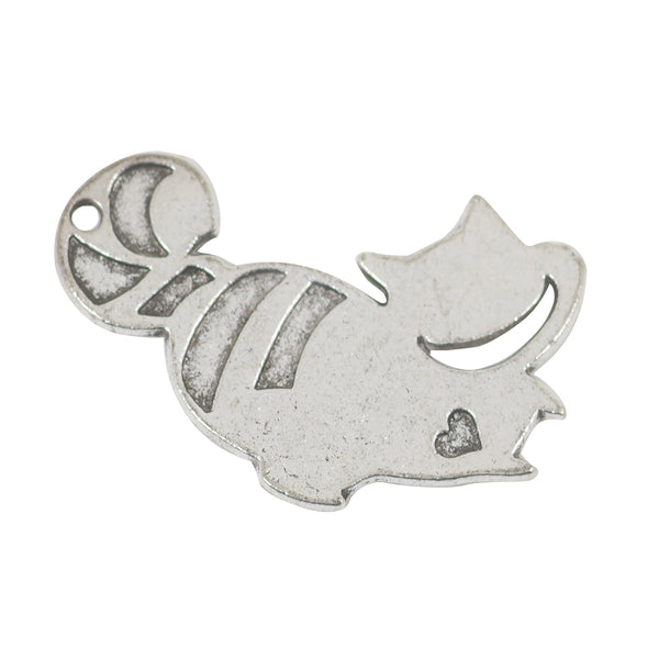 8 Cat Charms Antique Silver Tone Pendant 19mm x 29mm