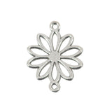 10 Daisy Flower Connetor Charms Antique Silver Tone Pendant 25mm x 19mm