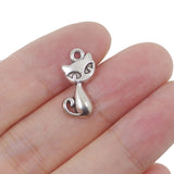 10 Tiny Cat Charms Antique Silver Tone Pendant 17mm x 8mm