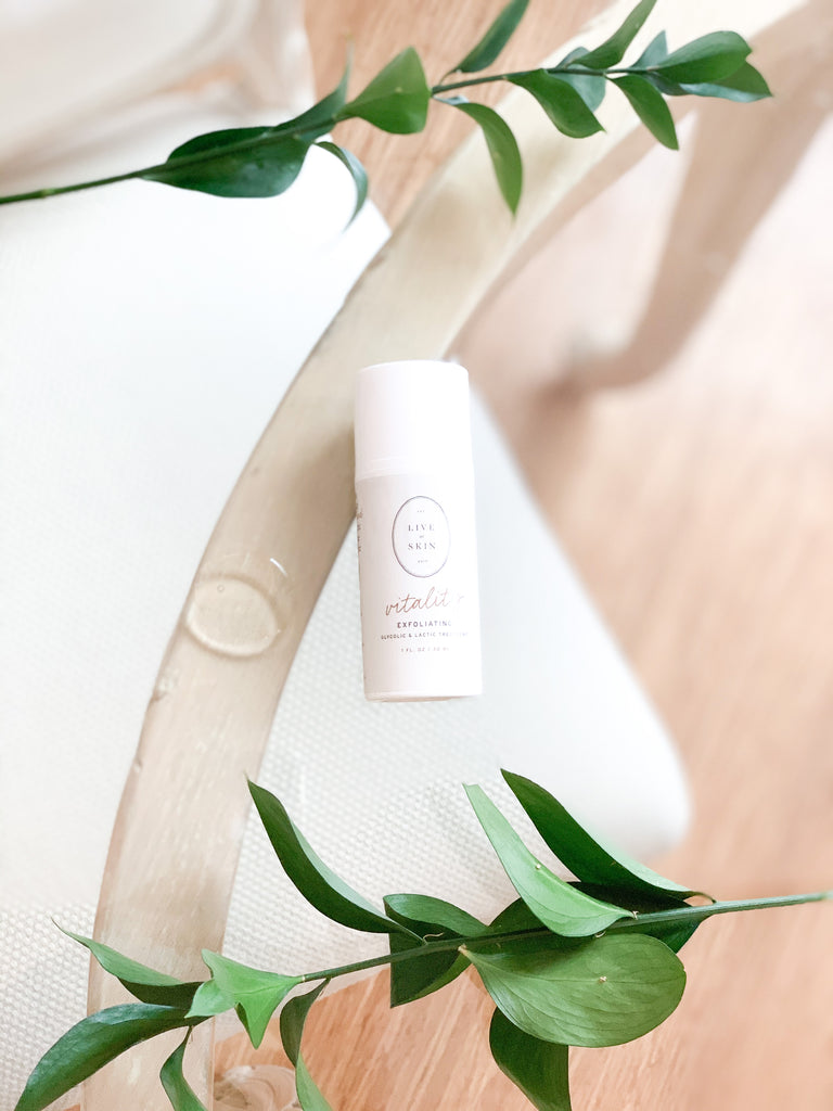 Vitality is a beautiful, potent, glycolic and lactic acid blend exfoliant.  This chemical exfoliant reduces the appearance of fine lines and wrinkles, and helps to reduce breakouts and even out the skin tone. With a silky, lightweight formula, it penetrates the skin quickly, without irritation.