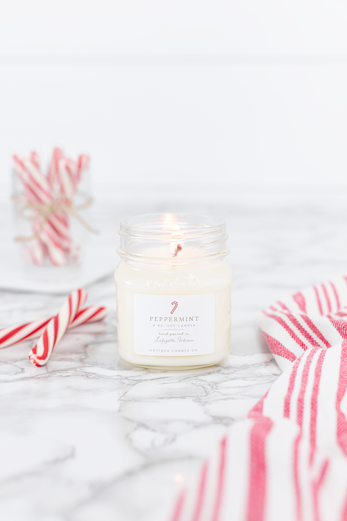 Peppermint candle smells like... Peppermint is a classically sweet scent with refreshing candied mint and soft notes of creamy vanilla.