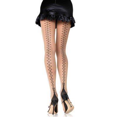 Corset Lace Up Back Cuban heel Panty Hose