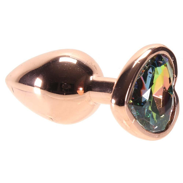 Small Aluminum Plug with Rainbow Heart Gem in Rose Gold