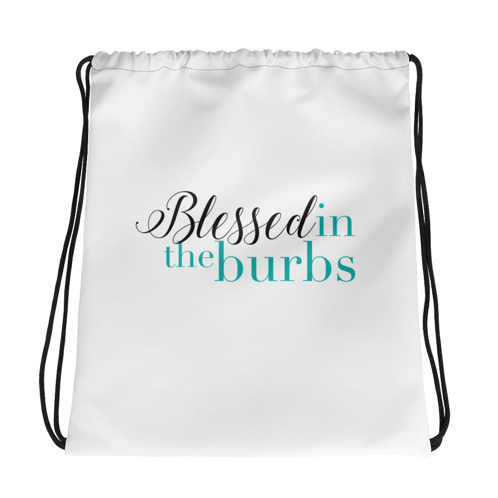 Blessed In The Burbs Drawstring Bag