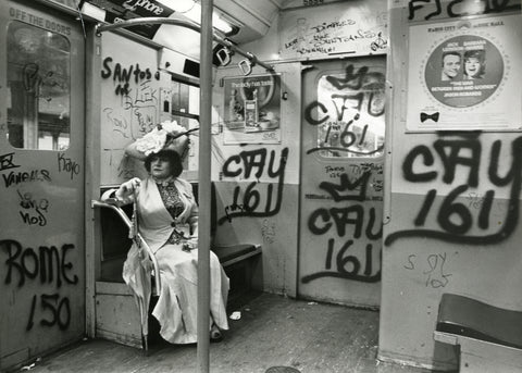 Photo credit: Bill Cunningham. Image courtesy New-York Historical Society. Editta Sherman on the Subway