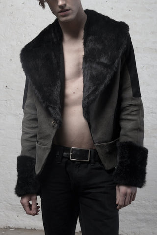 KENCHEN Men's Fur and Leather Jacket