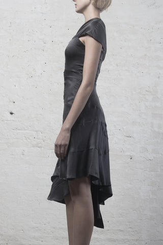 KENCHEN Women's Silk Drape Dress in Gunmetal Grey