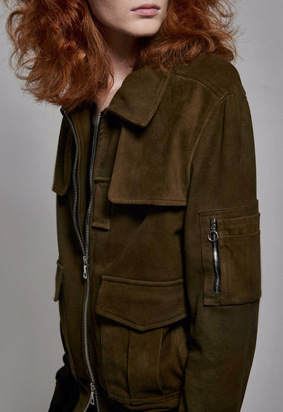 Oversize Suede Flight Jacket