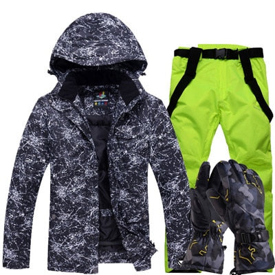 Ski Suit Mens Winter Warm and Windproof Waterproof Outdoor Sports Snow Sports hot Brand ski Equipment ski Jackets and Pants,TY02 and Black,M