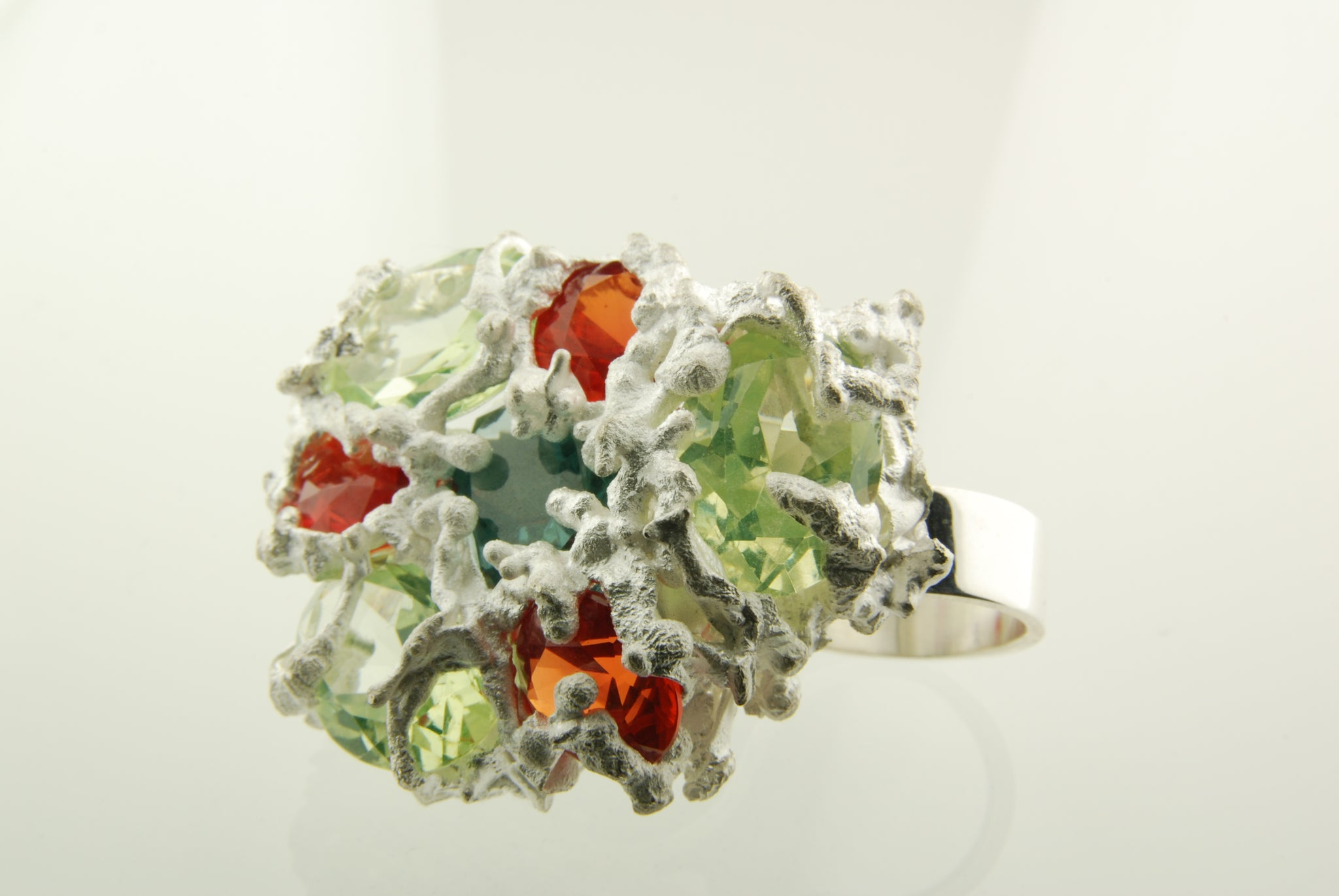 Handmade silver ring set with peridot & citrine stones