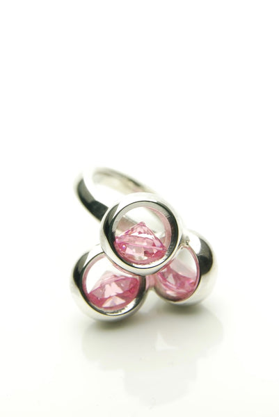 Laus Pink CZ & Silver Ring