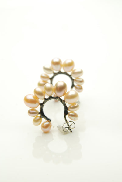 Pink Pearls Hoop Earrings