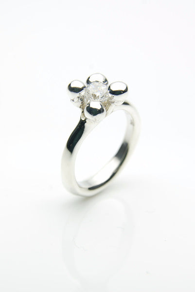 Handmade silver ring with white zirkon