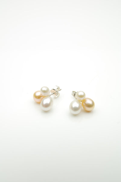 Orr handmade silver earrings with three pearls in a cluster