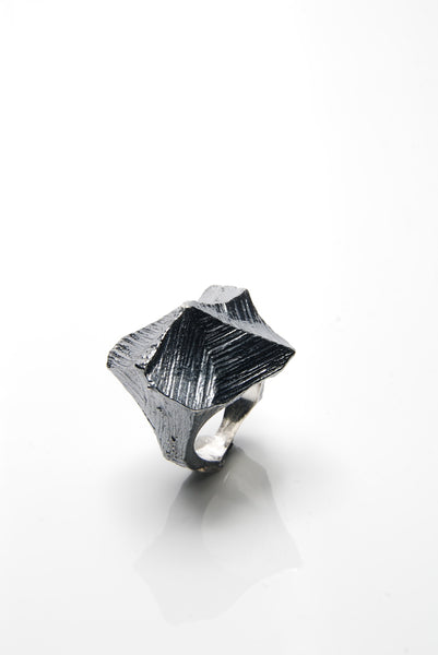 Black Apex Silver Ring