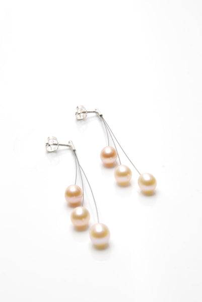 Long Golden Pearls Earrings