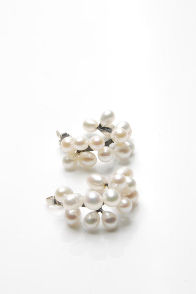 White Pearls Silver Hoops Earrings