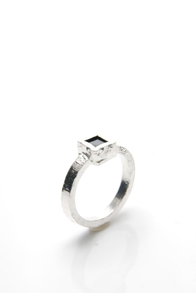 Men's Black Stone Silver Ring