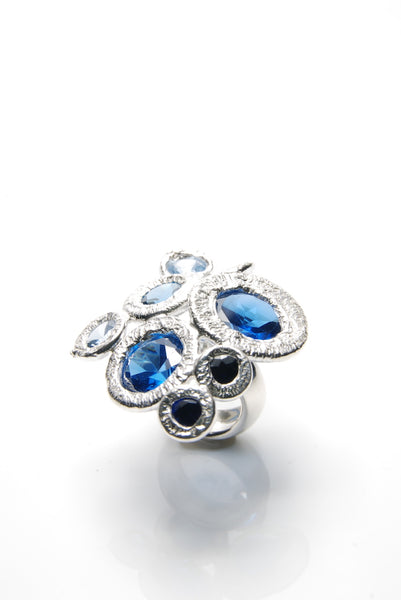 Bouquet of Blue Silver Ring
