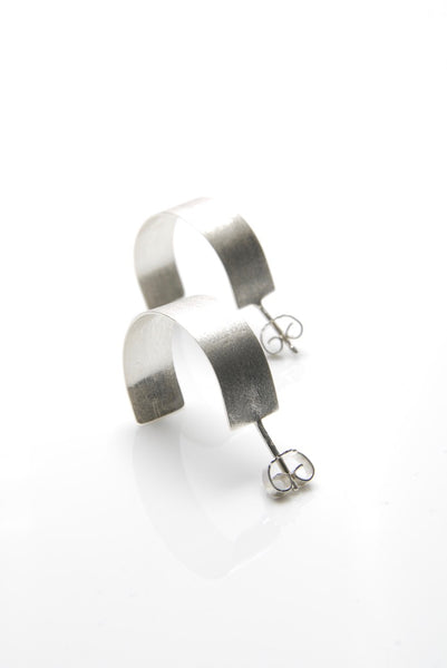 Industrial Silver Hoop Earrings