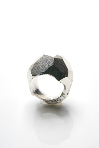 Men's Faceted Silver Ring