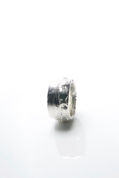Wide Sand Cast Silver Ring