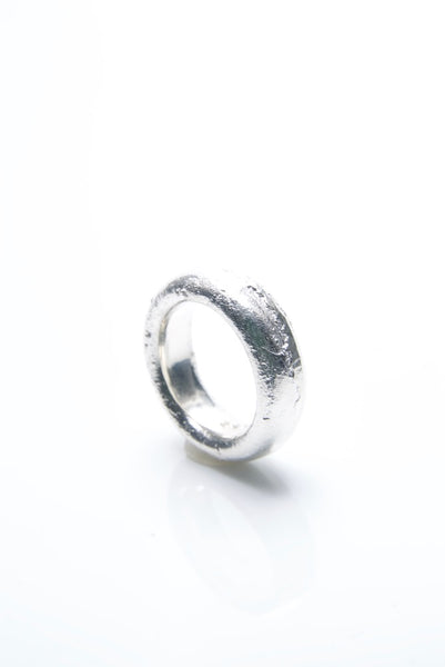 Spherical Sand Cast Silver Ring