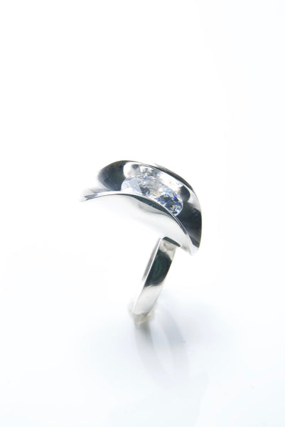 Silver Clam Ring with White Gem